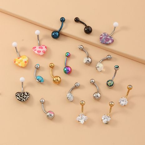 Hot Selling Explosion Model Stainless Steel Opel Navel Nail Nail Turquoise Navel Ring Umbilical Buckle NHNZ217165's discount tags