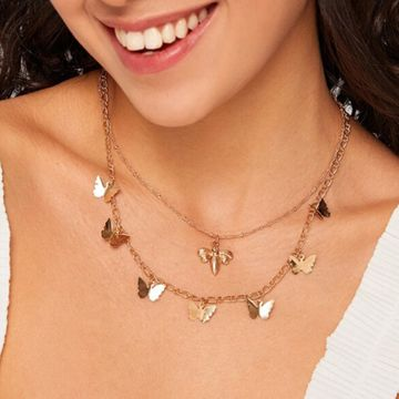 Explosion Mori temperament bee pendant clavicle chain sweet girl wild butterfly necklace wholesale NHNZ217170