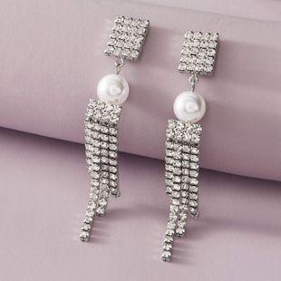 Fashion jewelry temperament pearl flash diamond long tassel earrings elegant luxury full diamond earrings NHNZ217172's discount tags