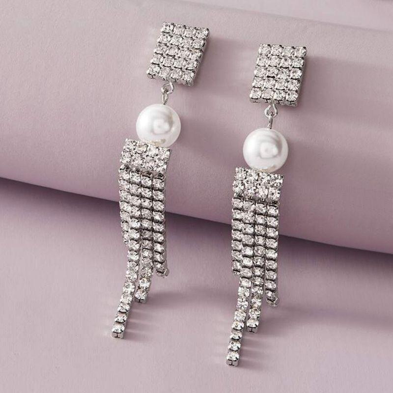 Fashion jewelry temperament pearl flash diamond long tassel earrings elegant luxury full diamond earrings NHNZ217172