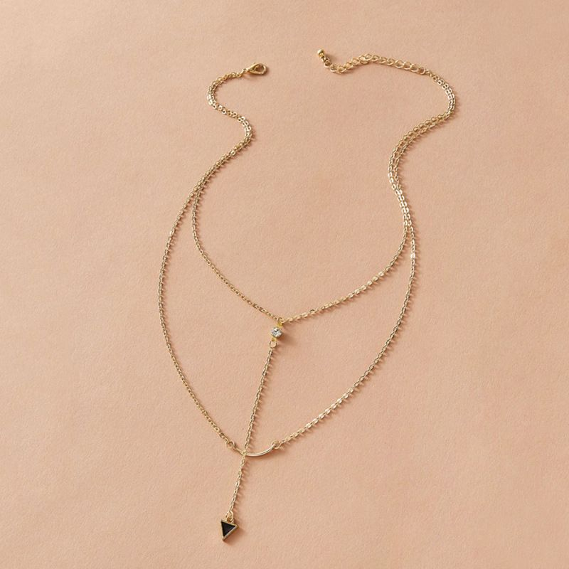 Fashion jewelry fashion diamond multilayer womens necklace simple chain necklace NHNZ217173