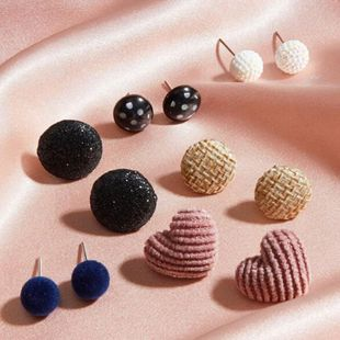 Fashion jewelry retro simple fabric velvet earrings geometric round earrings 6 pairs set NHNZ217175's discount tags