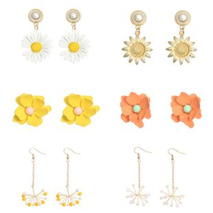 Fashion jewelry retro simple sun flower small daisy earrings fresh snowflake rice beads earrings NHNZ217177's discount tags