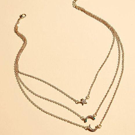 Bijoux de mode personnalisé sauvage multicouche collier exquis pentagramme lune pendentif collier NHNZ217181's discount tags