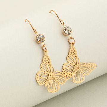 Fashion jewelry elegant temperament hollow butterfly earrings ethnic wind leaves flowers ear hooks NHNZ217184