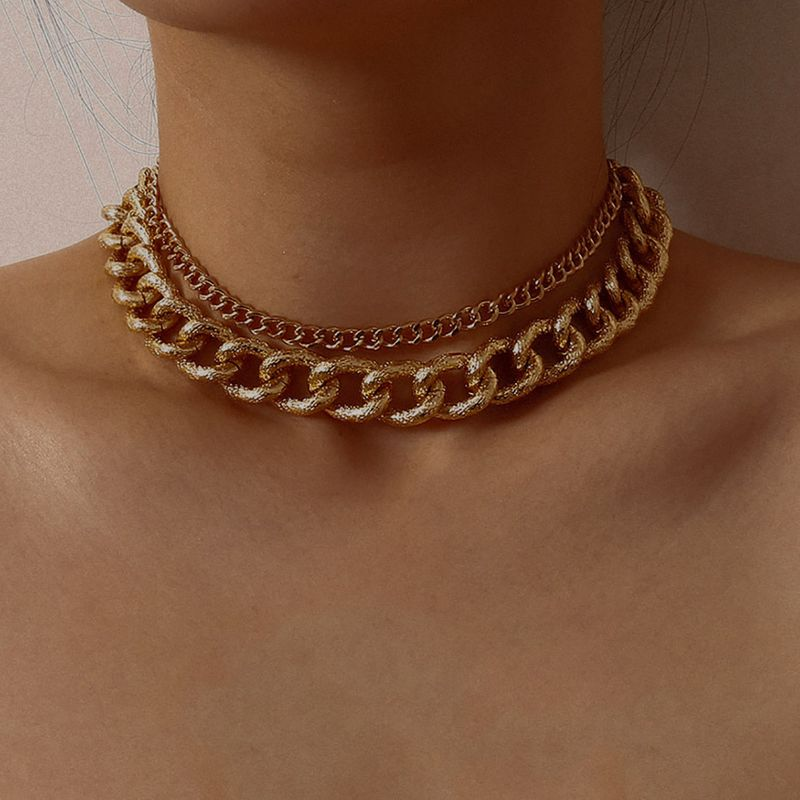 Fashion jewelry exaggerated corrugated chain punk necklace cold wind geometric thick chain suit necklace NHXR217186