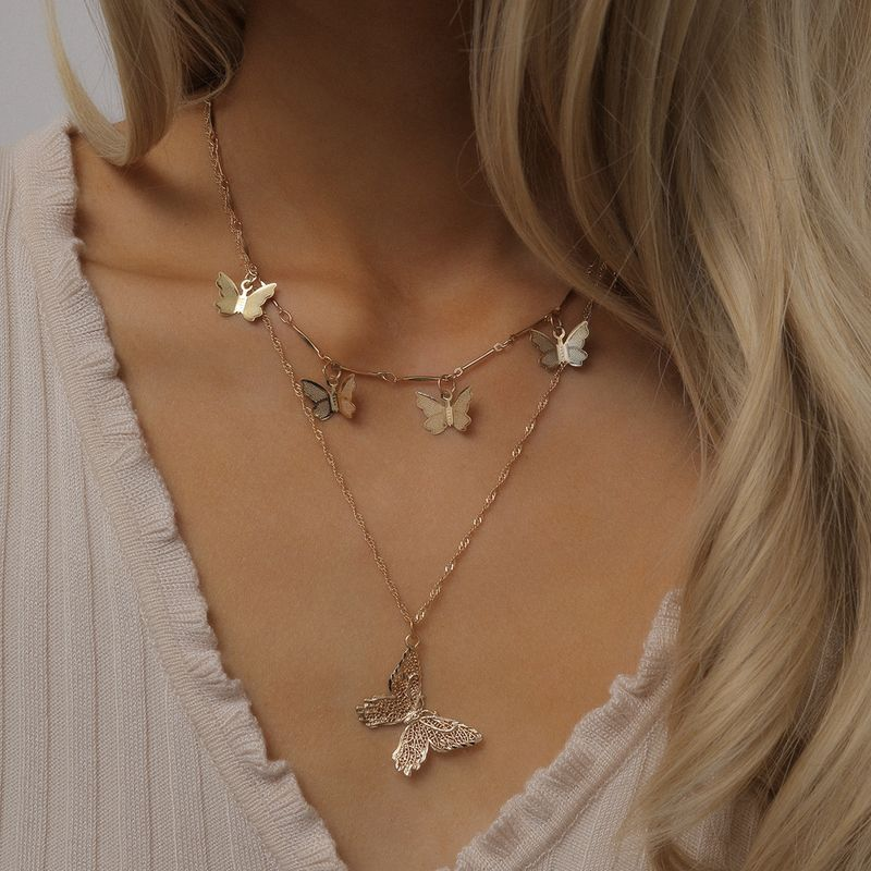 Fashion jewelry wild hollow animal geometric ornaments temperament small butterfly tassel necklaces NHXR217197