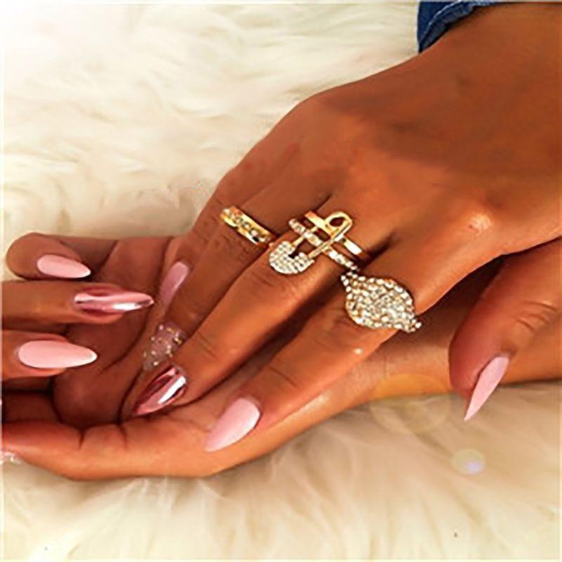 jewelry creative exaggerated geometric suit jewelry design niche pin micro inlaid rhinestone ring NHXR217199