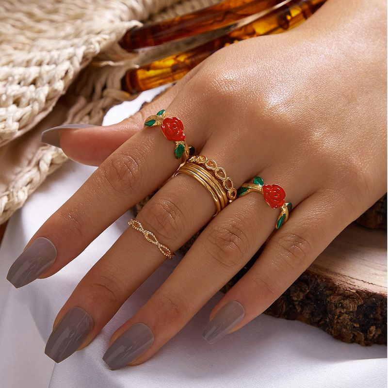 Jewelry contrast color fashion ring punk hand ornament temperament hollow threedimensional rose ring wholesale NHXR217216