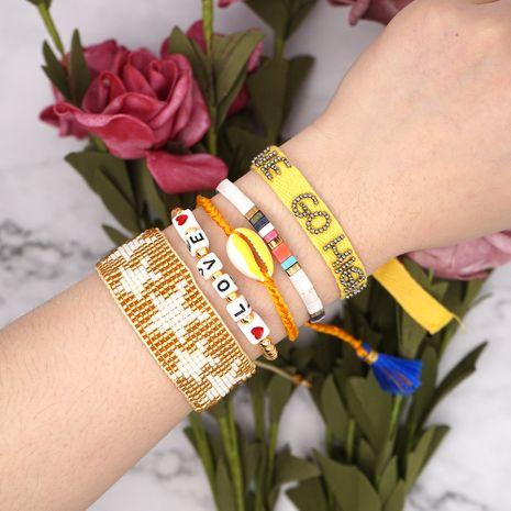 Pulsera de estilo étnico para mujer, cuentas de arroz Miyuki pulsera de concha de amor tejida a mano cinta solar pulsera de estrella de cinco puntas tila NHGW217243's discount tags
