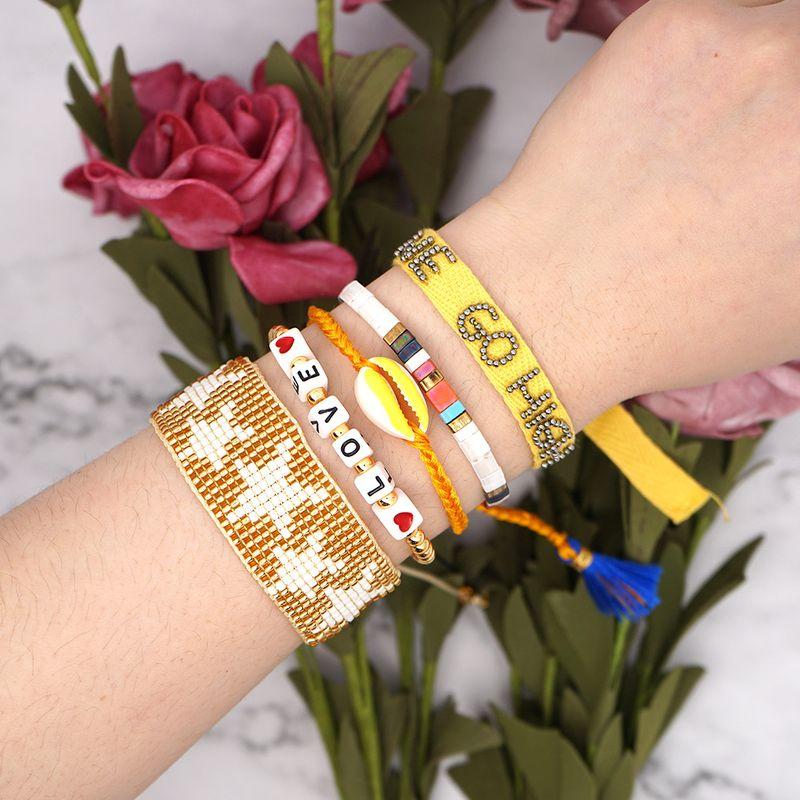 Ethnic style bracelet women Miyuki rice beads hand-woven LOVE shell bracelet sunlight ribbon tila five-pointed star bracelet NHGW217243