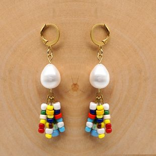New style earrings female rainbow beads national style tassel Pearls natural freshwater baroque pearl female long earrings NHGW217244's discount tags