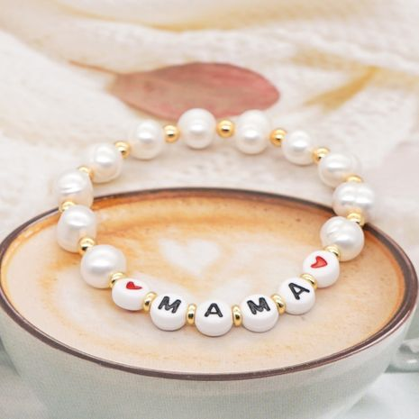 Simple Original Gold Pearl Bracelet Female Pearls Natural Freshwater Baroque Pearl Alphabet Mom Gift NHGW217254's discount tags