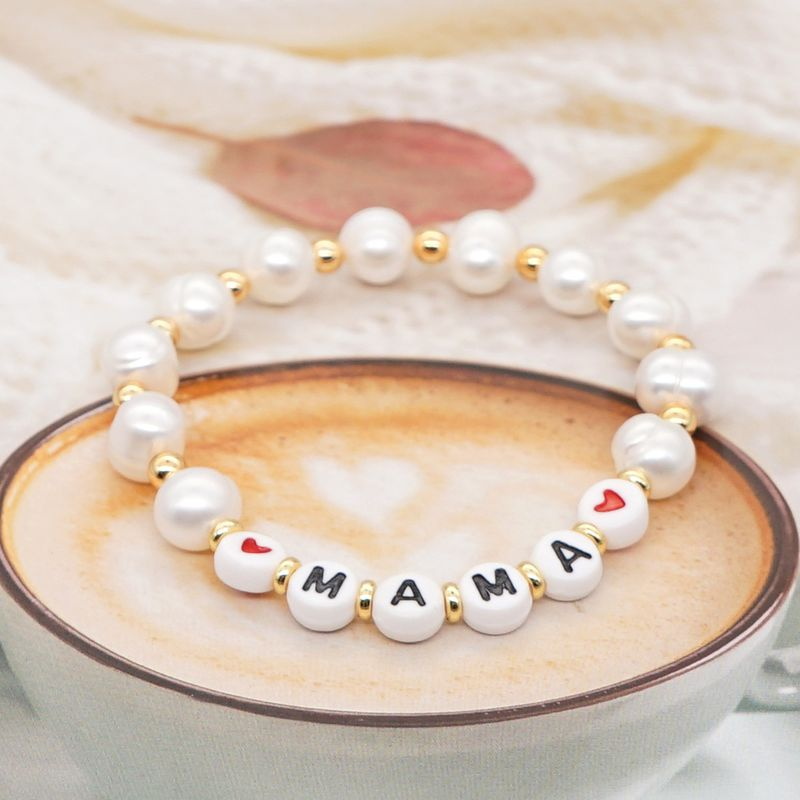 Simple Original Gold Pearl Bracelet Female Pearls Natural Freshwater Baroque Pearl Alphabet Mom Gift NHGW217254