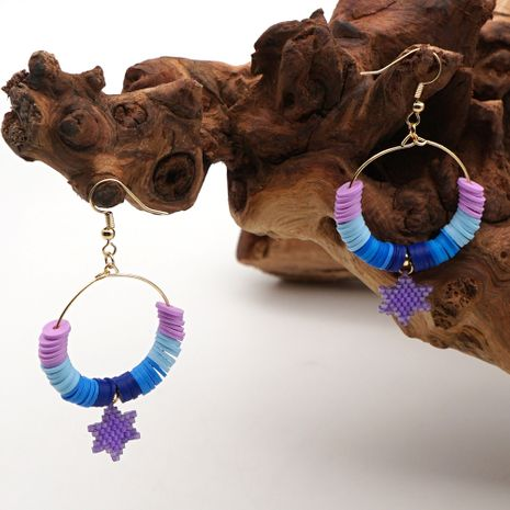 summer beach wind rainbow pottery clay earrings female import Miyuki hand-woven six-pointed star national wind NHGW217258's discount tags