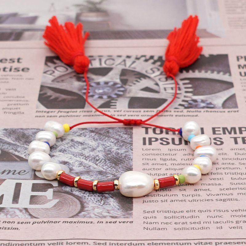 Original tassel enamel beads Pearls natural freshwater pearl gold beads women bracelet simple ethnic style bracelet NHGW217262