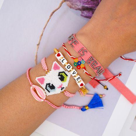 Simple flor de siete colores Miyuki cuentas de arroz tejido a mano AMOR amor concha borla cinta gatito pulsera femenina NHGW217264's discount tags