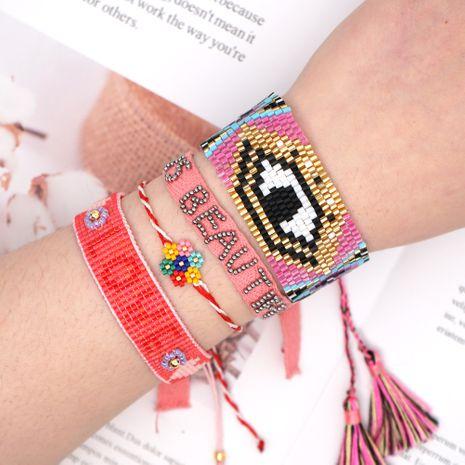 Simple colorful flowers bracelet Miyuki rice beads hand-woven ethnic wind evil eye tassel bracelet webbing wholesale NHGW217266's discount tags