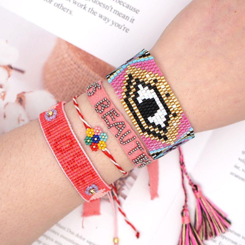 Simple colorful flowers bracelet Miyuki rice beads hand-woven ethnic wind evil eye tassel bracelet webbing wholesale NHGW217266