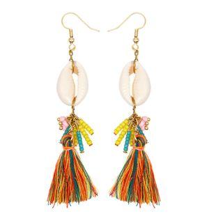 Bohemian Beach Wind Paint Natural Shell Temperament Women's Long Rice Bead Earrings Color Retaining Ear Hook NHGW217269's discount tags