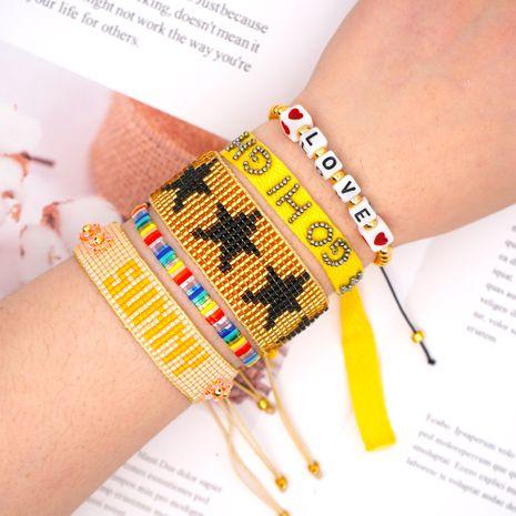 national style bracelet  Miyuki rice beads hand-woven love sunshine ribbon tila five-pointed star NHGW217273's discount tags