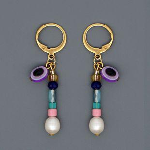 Pearls natural freshwater baroque pearl temperament earrings ethnic wind crystal evil eye earrings NHGW217274's discount tags