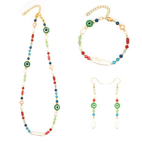 original colored glass evil eye ethnic style Pearls handmade natural freshwater Baroque pearl jewelry wholesale NHGW217278's discount tags