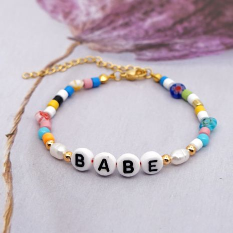 natural freshwater baroque pearl braceletsimple enamel letters colored glazed beads wholesale NHGW217283's discount tags