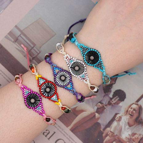 summer Miyuki rice beads hand-woven evil eye friendship rope simple bracelet NHGW217285's discount tags