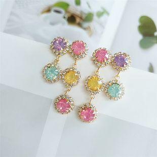 new style earrings fashion simple color diamond-set long earrings wholesale  NHVA217299's discount tags