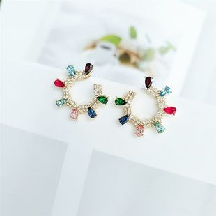 Korean personalized geometric color earrings temperament wild fashion simple ear jewelry NHVA217300's discount tags