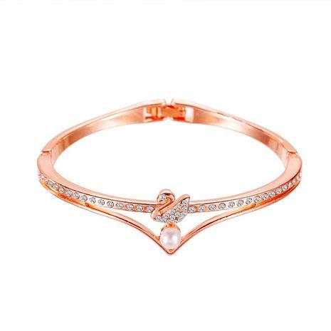 Joyería de moda coreana temperamento pulsera de cisne pequeño oro rosa pulsera de perlas de apertura pulsera joyería clásica popular NHDP217319's discount tags