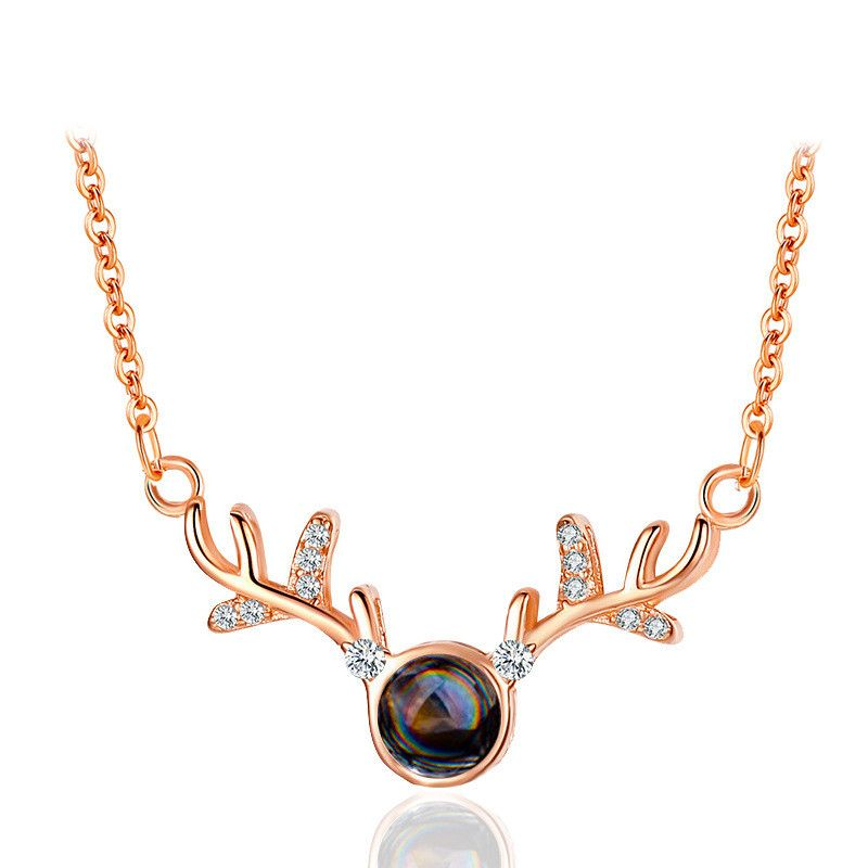 Fashion necklace girls all the way with you elk pendant 100 languages I love you clavicle chain NHDP217321