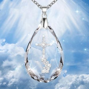 explosion of crystal cross necklace original temperament water drop pendant necklace men and women neck chain Christian accessories NHDP217323's discount tags