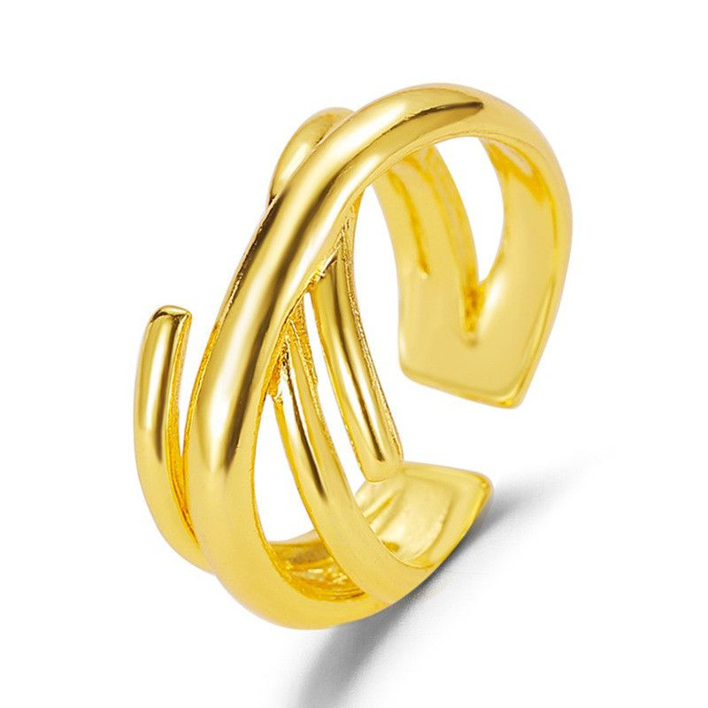 pair ring imitation gold cross ring fashion atmosphere multi-layer interwoven ring retro geometric opening couple ring NHDP217325