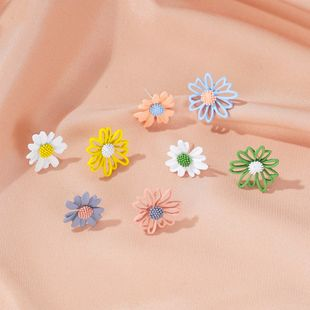 summer flowers earrings sweet hollow asymmetric small daisy earrings feminine wild new earrings NHDP217327's discount tags