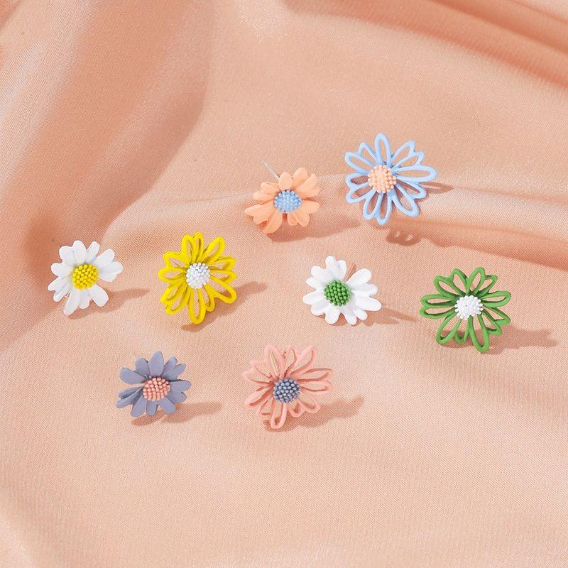 summer flowers earrings sweet hollow asymmetric small daisy earrings feminine wild new earrings NHDP217327