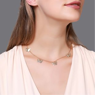hot sale jewelry fashion temperament short five butterfly necklace simple sweet single-layer ladies clavicle chain NHDP217329's discount tags
