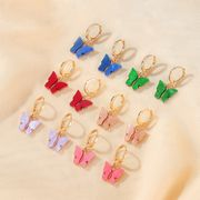 Korean new butterfly earrings summer temperament super fairy butterfly earrings ear buckle wind color acrylic earrings NHDP217330