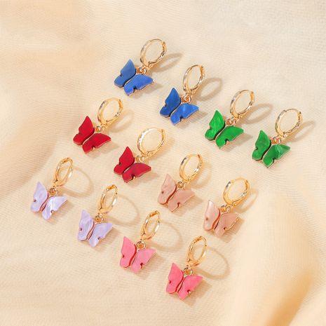 Korean new butterfly earrings summer temperament super fairy butterfly earrings ear buckle wind color acrylic earrings NHDP217330's discount tags