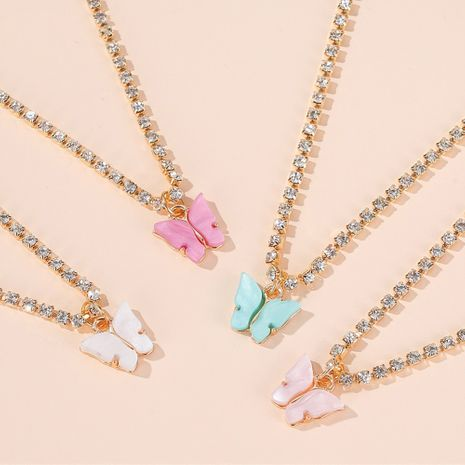 butterfly necklace wild colorful butterfly clavicle chain temperament simple butterfly pendant wholesale NHDP217331's discount tags