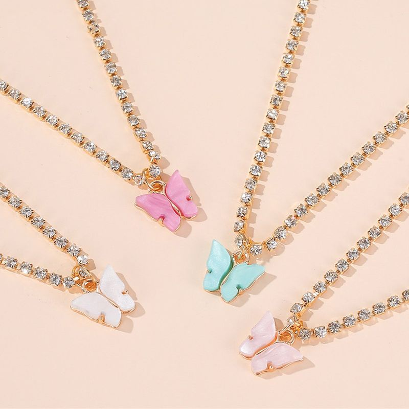 butterfly necklace wild colorful butterfly clavicle chain temperament simple butterfly pendant wholesale NHDP217331