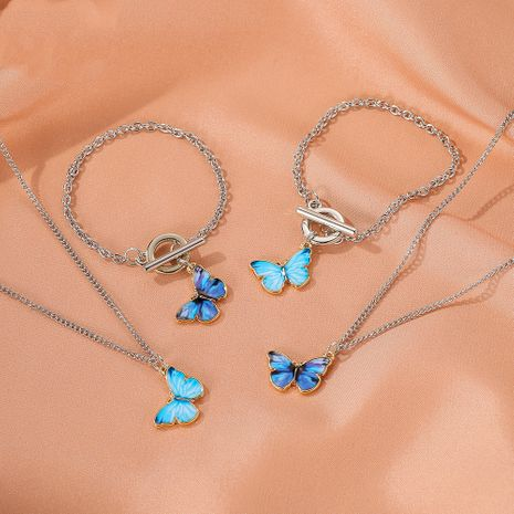 Summer new product gradient butterfly necklace couple clavicle chain butterfly bracelet wholesale NHDP217332's discount tags