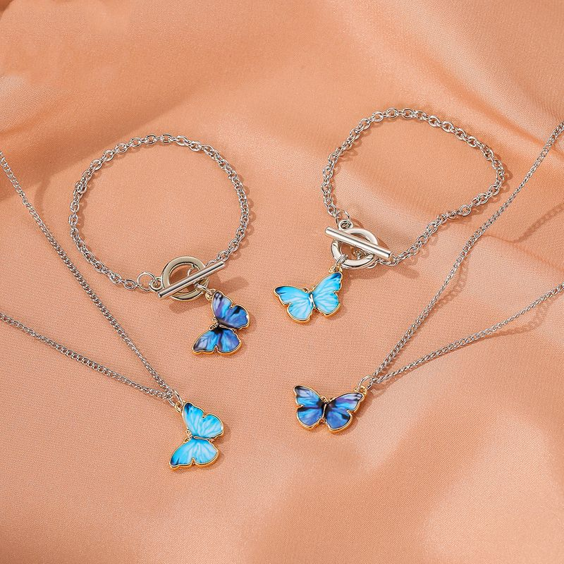 Summer new product gradient butterfly necklace couple clavicle chain butterfly bracelet wholesale NHDP217332