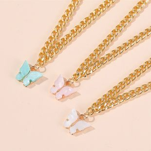 Korean fashion new item butterfly necklace clavicle chain summer wind simple butterfly pendant wholesale NHDP217336's discount tags