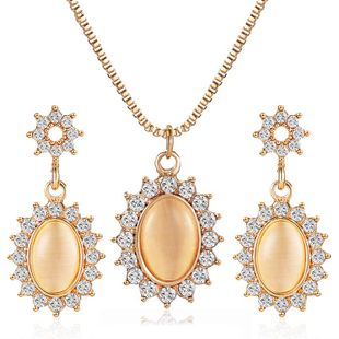 Korean fashion temperament opal sun flower earrings French micro-set zircon oval necklace retro ladies jewelry NHDP217337's discount tags