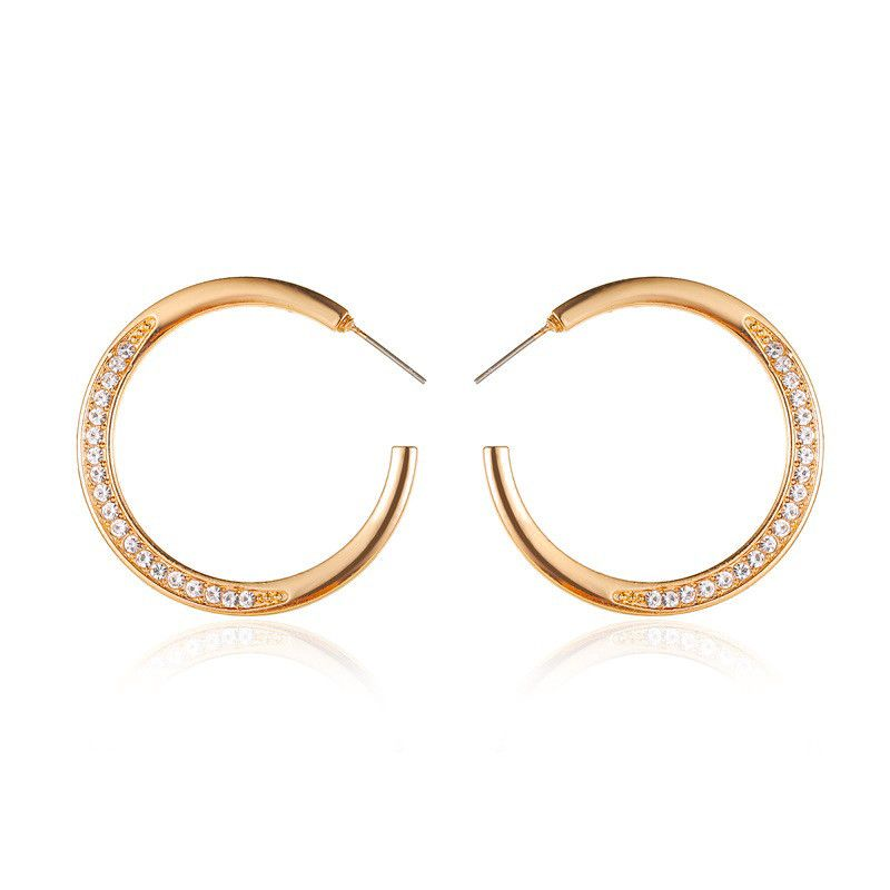 hot selling earrings temperament simple zircon C-type earrings cold wind minimalist round opening earring wholesale NHDP217341
