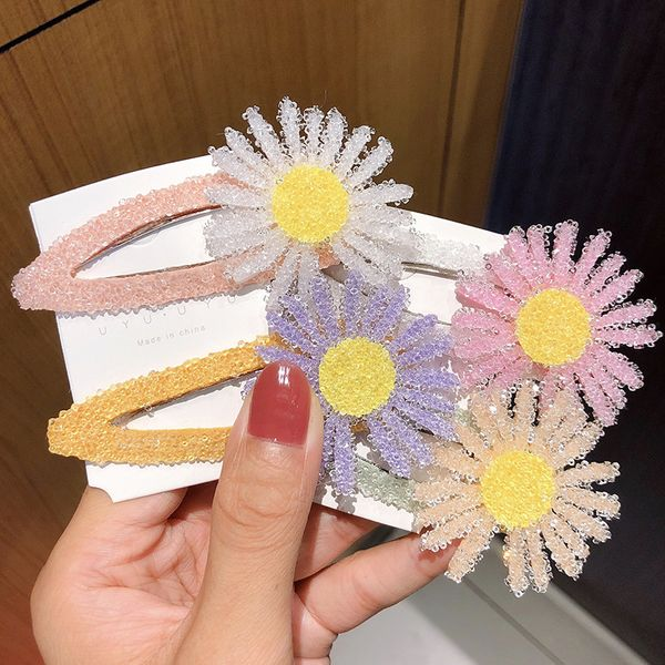 Full diamond small daisy hairpin large clip net red explosion model hairpin Japanese chrysanthemum edge clip bangs clip hair accessories NHNA217361