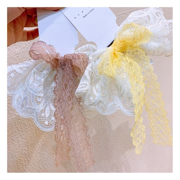 lace big bow hairpin hair accessories fairy fairy super fairy embroidery flower clip mesh hairpin NHHD217363
