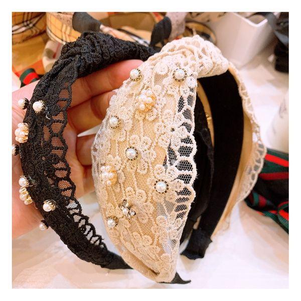 Designer little fairy lace flower polka dot hair hoop fashion pearl tassel wide hairpin ladies headband NHHD217364
